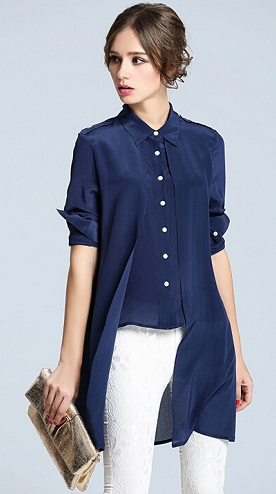 Irregular Hem Silk Long Shirt