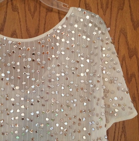 Ivory and Sequin Embellished Top