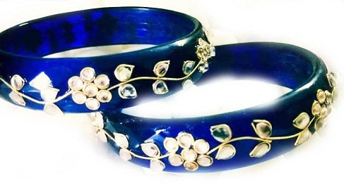 Kundan Work Royal Blue Bangles