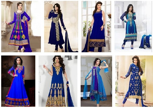 Latest Blue Salwar Suits Designs for Girls