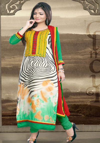 Long Designer Green Salwar Suit