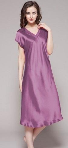 Women silk nighties are the reason behind sleepless nights among couples.  Long knee length silk nighties with a sober color of royal purple f29876320