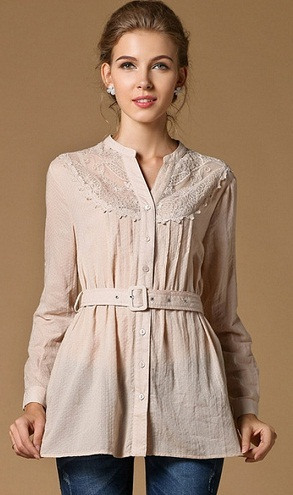 Long Sleeve Belted Shirt Top