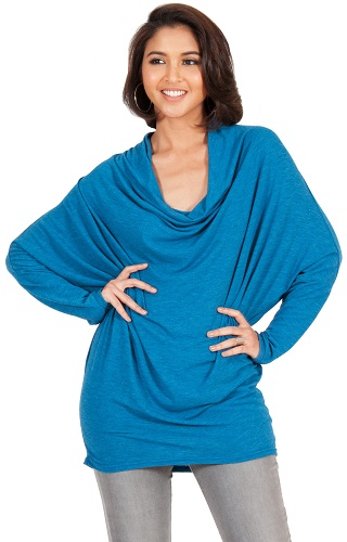 Long Sleeve Blue Cowl Neck Top
