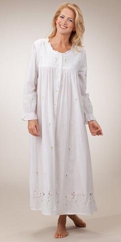 Long White Cotton Nighty