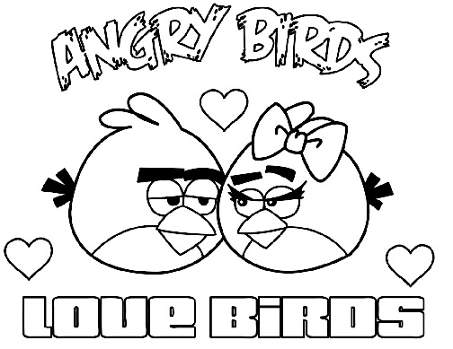 Love Birds Angry Bird Colouring Page
