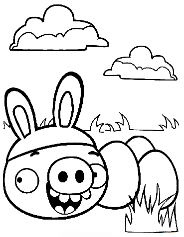 Minion Pig Stealing Easter Egg Angry Bird Colouring Page