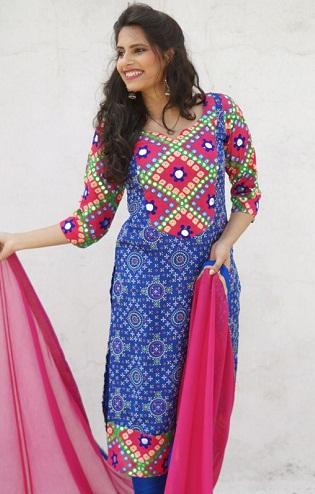 Mirror Work Bandhani Salwar Suit