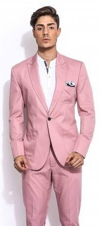 Mr Button Pink Solid Blazer