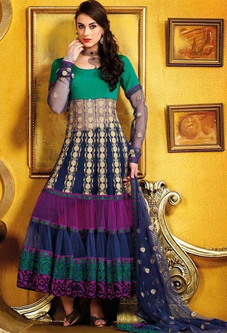 Multi-layered Multi-coloured Anarkali Suit
