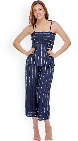 Navy striped Capri night wear