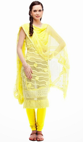 Net Fabric Yellow Salwar Kameez Design