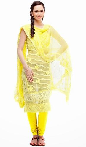 Net Fabric Yellow Salwar Kameez Design