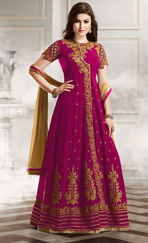Ombre Dyed Deep Pink Anarkali Suit