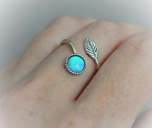 Opal Leaf Ring