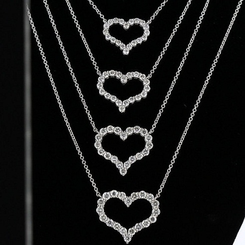 Open Heart diamond Necklaces set -10