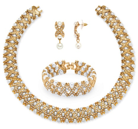 Palm beach pearl and crystal gold necklace set with Bangle -4