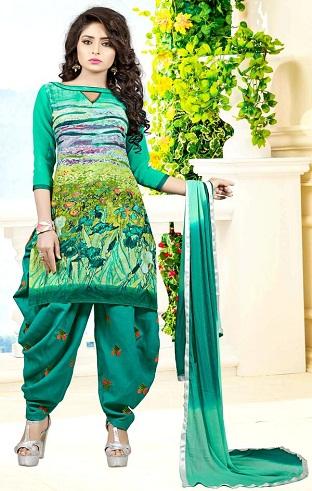 Patiala Style Green Salwar Suit