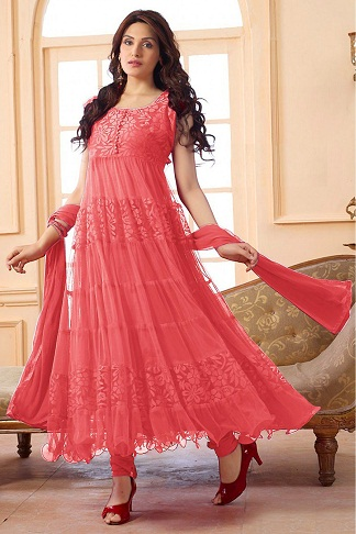 Peach Brasso Net Anarkali Suit