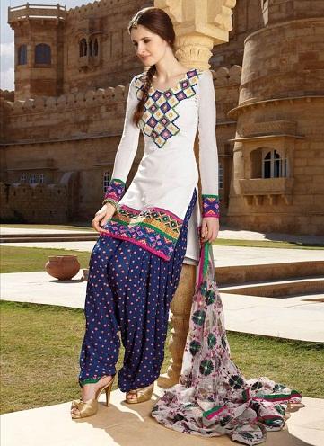 Phulkari Work Punjabi Salwar Suit