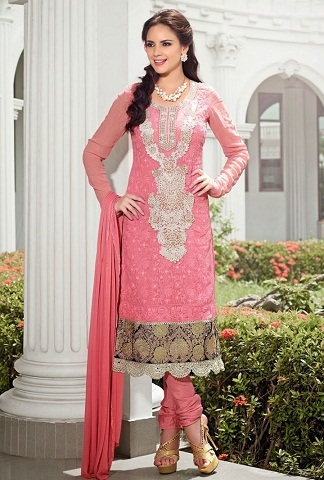 Pink Churidar Salwar Suit
