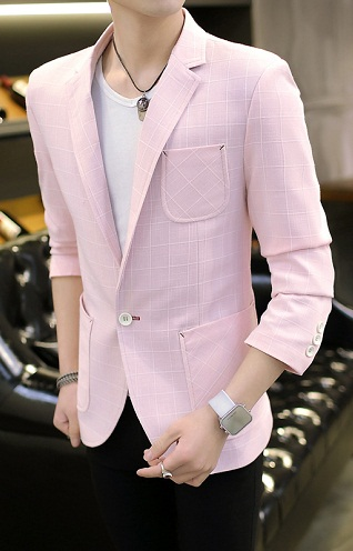 Pink Solid Blazer For Men