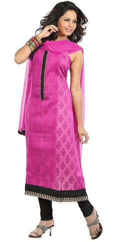 Pink and Black Silk Salwar Suit Design