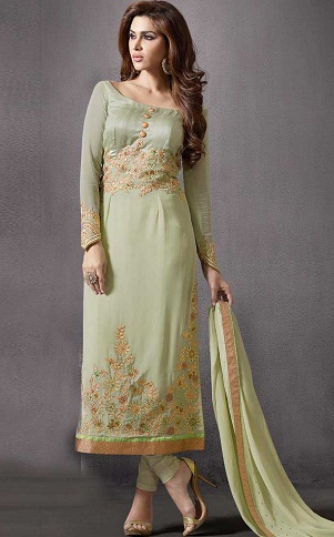Pista Green Silk Salwar Suit