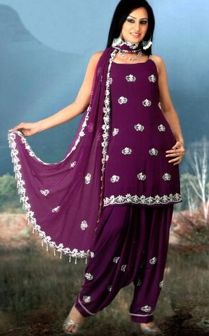 Purple Short Kurta Design