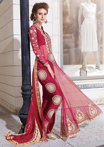 Red Bridal Resham Work Designer Suit