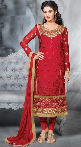 Red Embroidery Salwar Suit Designs