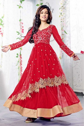 Red Layered Anarkali Suit
