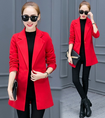 Red Solid Winter Blazer