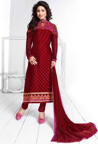 Red Velvet Designer Salwar Kmeez