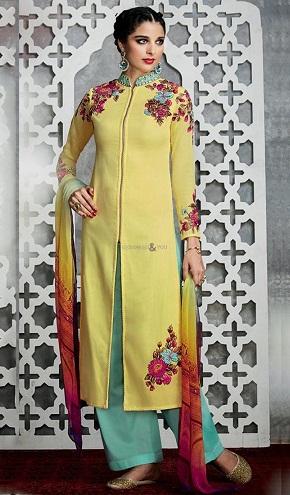 Resham Work High Collar Neck Yellow Suit