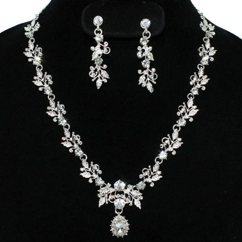 Rhinestone diamond necklace set-8