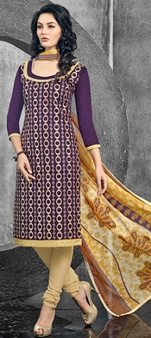 Round Neck Purple and Beige Cotton Salwar Suit-14