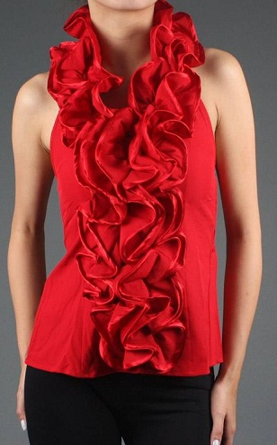Ruffled Designed Red Top