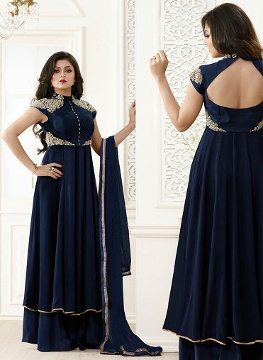 Salwar Suit with Back Neck Pattern