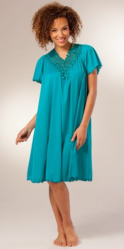 Short Flutter Sleeve Nylon Nighty