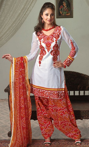 Short Red Kameez with Patiala Salwar