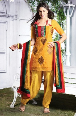 Short Silk Salwar Kameez Suit Design