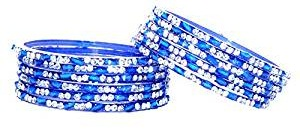Silver Dotted Blue Bangles