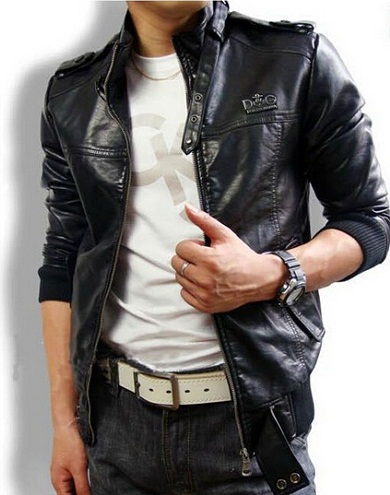 Simple leather jacket