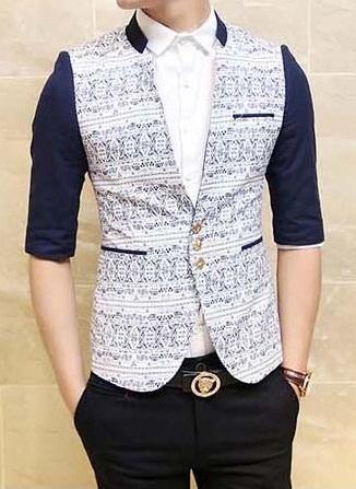 Sleeveless cotton blazer