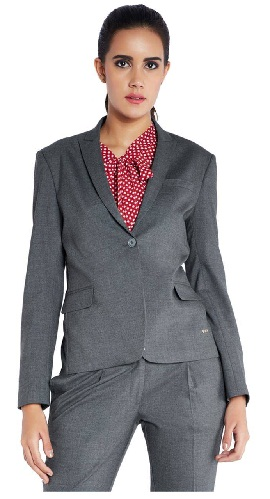 Stop Avenue Gray Solid Fitted Blazer