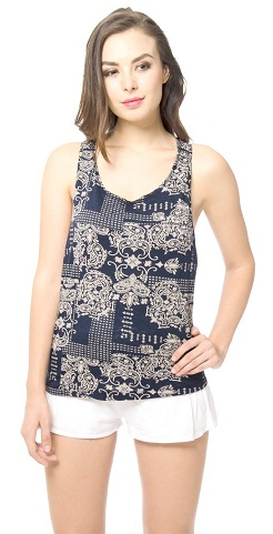 The Blue Printed Backless Top