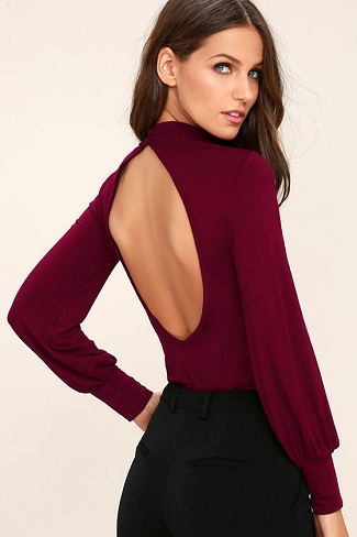 The Maroon Backless Top