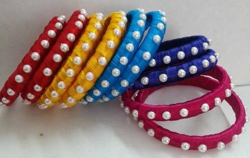 Thread and Pearl Bangle for Girls