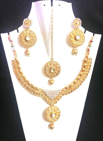 Traditional coin design necklace set -9